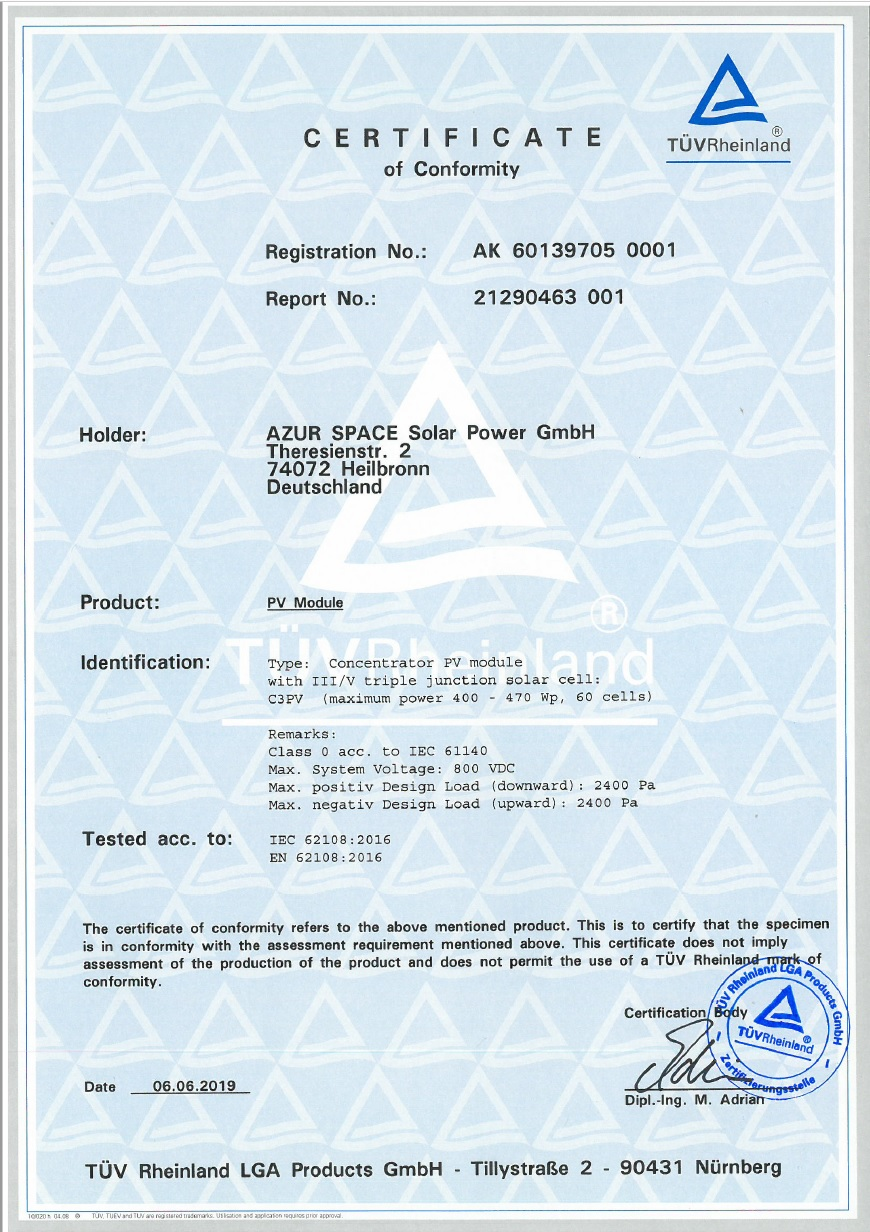 Certificate of Conformity PV Module